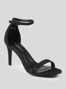 Online Exclusive Black Shimmer Stiletto Sandal