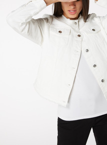 Cream Frayed Denim Jacket