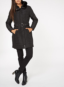 Black Quilted Belted Coat