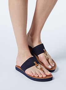 Navy metal toe post flip flops
