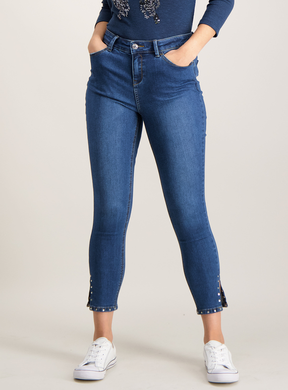 Blue Skinny Stretch Jeans With Studded Detail