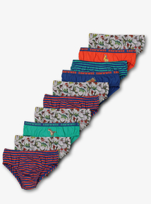 Multicoloured Dinosaur Briefs 10 Pack (18 months-7 years)
