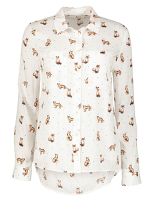 Fox Print Long Sleeve Shirt