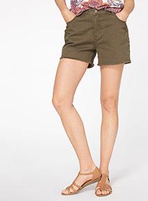 Khaki Washed Denim Shorts