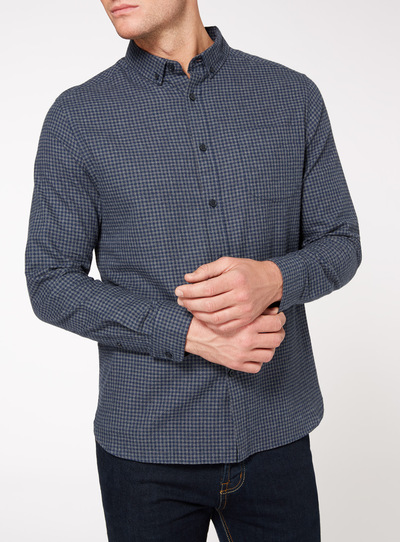 Navy Mini Gingham Check Shirt
