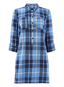 Blue Check Longline Shirt