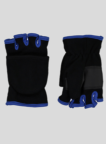Black Fleece Flip Mittens (3-12 Years)