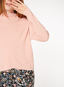 Pink Cross-Front Compact Jumper