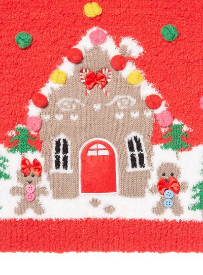 Red Christmas Gingerbread House Jumper (3-14 years)