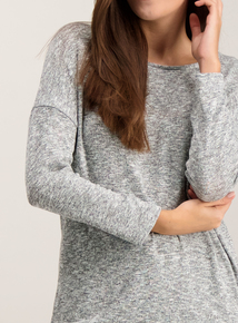 Grey Slouchy Knit Look Top