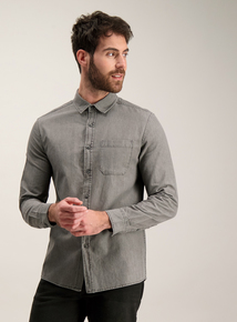 Grey Regular Fit Denim Shirt