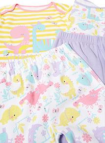 2 Pack Multicoloured Cutiesaurus Pyjamas (0-24 months)