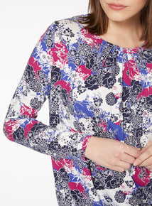 Multicoloured Japan Floral Bubblehem Top