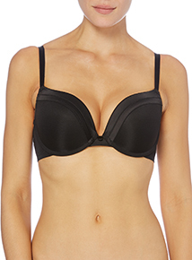 Black Satin Push Up Plunge Bra