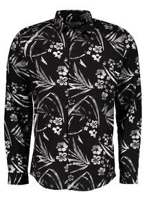Black Tropical Flower Print Slim Fit Shirt