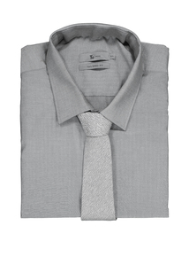 Grey Easy Iron Tailored Fit Long Sleeve Shirt & Tie set