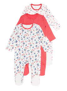 Three Pack Floral Sleepsuits (3-24 months)