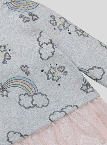 Grey Rainbow Print Frill Top And Leggings Set (9 months-6 years)