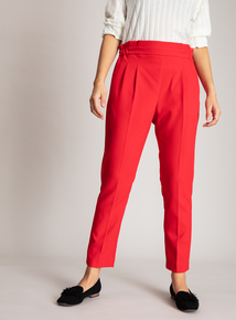 Red Drapey Suit Tapered Trouser