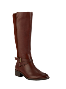 Online Exclusive Sole Comfort Brown Leather & Suede Riding Boots Wide Calf