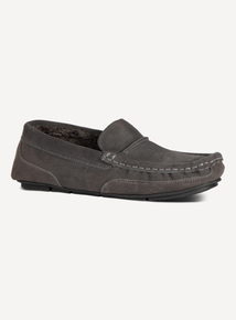 Grey Suede Moccasin Slipper