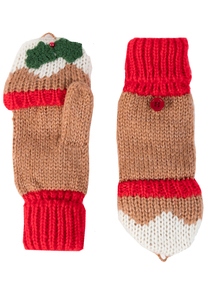 Christmas Multicoloured Xmas Pud Flip Mitt Gloves