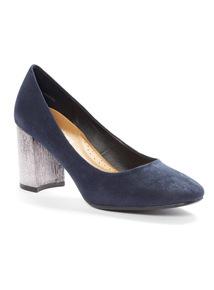Navy Block Heel Court Shoes