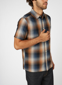 Ochre and Navy Checked Shirt