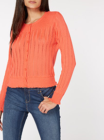Coral Pointelle Cardigan