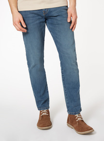 Light Wash Tapered Denim Jeans With Stretch