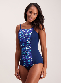 Navy Photographic Wave Low Leg Swimsuit
