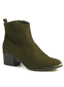 Khaki Western Pointed Toe Ankle Boots