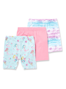 3 Pack Multicoloured Mermaid Shorts (9 months-6years)