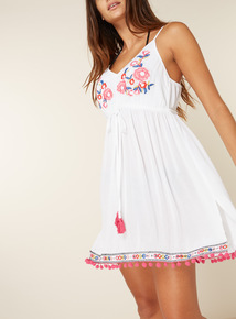Crinkle Embroidered Cover Up Dress
