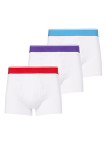 White Bright Waistband Trunks 3 Pack
