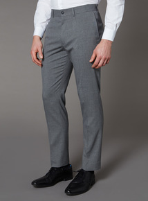 Grey Mini Dogtooth Slim Fit Trousers With Stretch