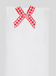 5 Pack Red Gingham and Heart Trim Socks (6 infant-5.5 adult)