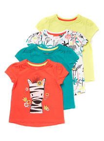 4 Pack Multicoloured Safari Print T-shirts (9 months-6 years)