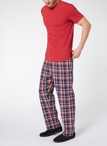 Red T-shirt and Checked Trouser Pyjama Set