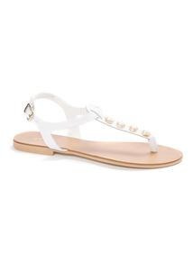 'Made In Italy' Leather Pearl Look Sandals