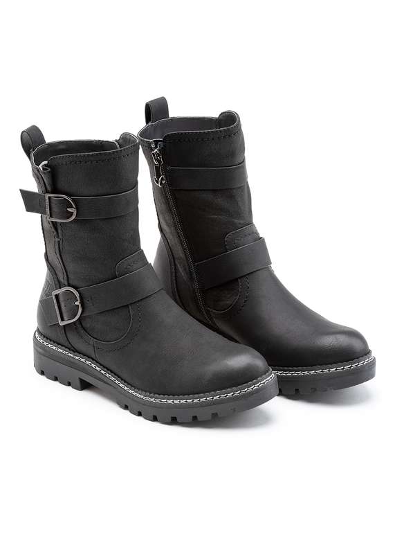 amazon 100% top quality low cost SKU ONLINE ONLY LOP DOUBLE BUCKLE ANKLE BOOT:Black