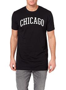 Black Longline Chicago T-shirt