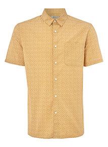 Yellow Ditsy Print Regular Fit Shirt