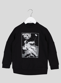 Black Spaceman Long-Sleeved Sweatshirt (3-14 Years)