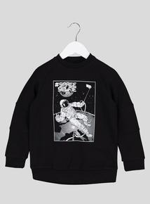 Black & White Space Slogan Long-Sleeved Sweatshirt (3-14 Years)