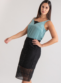 Premium Online Exclusive Black Lace Pencil Skirt
