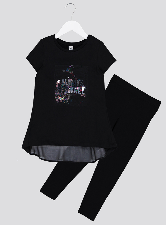 59ffe141 Kids Black Always Sparkle Sequin Top With Leggings (3-14 years) | Tu  clothing