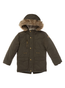 Khaki Faux-Fur Hood Parka Jacket (9 months-6 years)