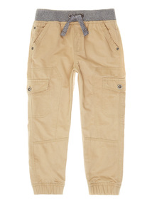 Stone Ribbed Waist Cargo Trousers (9 months-6 years)