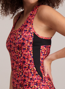 Active Multicoloured Geometric Vest Top